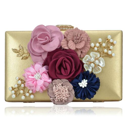 Dasein Women Handbags Satin Evening Clutch Bag Flower Should