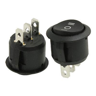 10pcs Ac 6a250v 10a125v 3 Pins Spdt Onoffon Panel Mount Round Rocker Switch