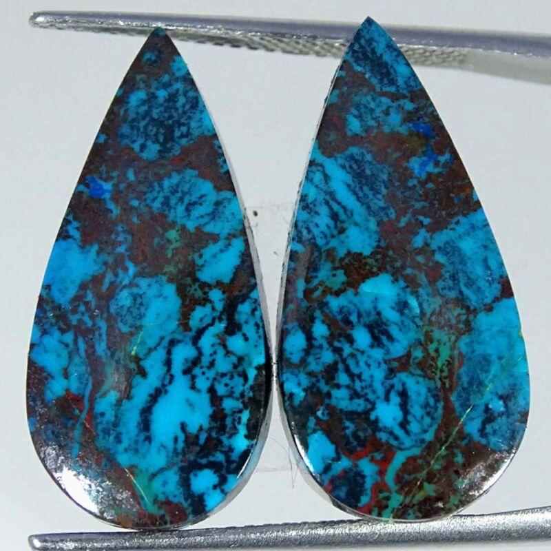 17.30Cts Natural Blue Azurite Pear Pair Cabochon Loose Gemstone
