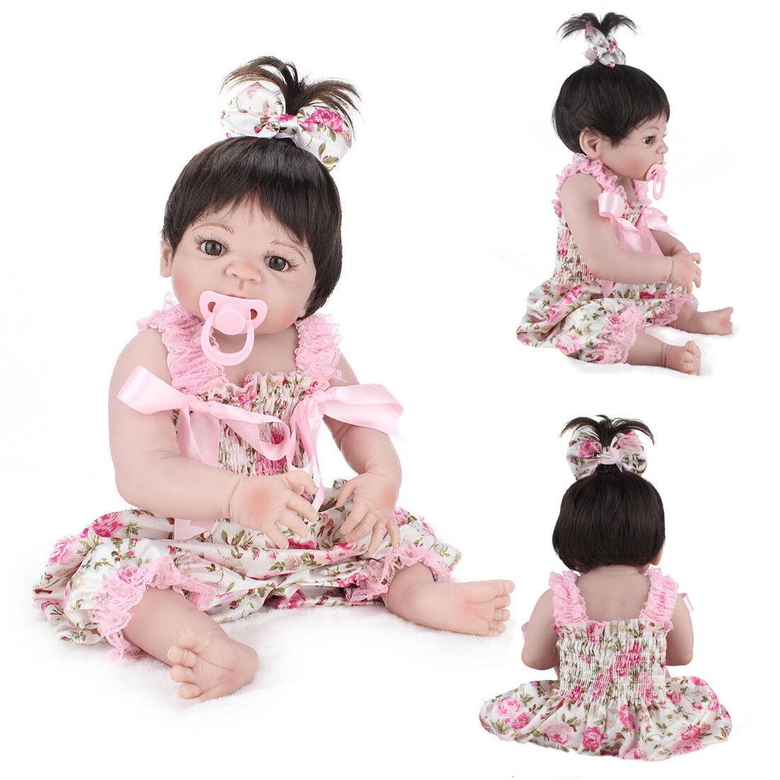 Newborn 22'' Reborn Baby Dolls Realistic Babies Full Vinyl Silicone Girl Doll US