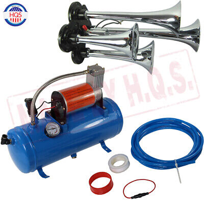 Train Horn Kit Loud Dual 4 Trumpet w/ 120 PSI 6L Air Compressor Complete (Complete Train Horn)