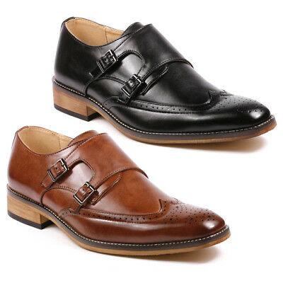 Perforated Wing Tip - Men's Double Monk Strap Perforated Wing Tip Slip On Loafers Fashion Dress Shoes
