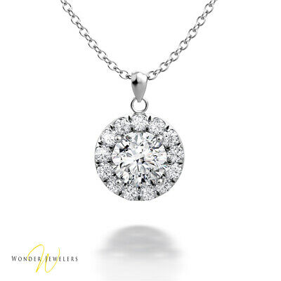 0.96ctw GIA Round Diamond Halo Necklace Pendant 14K White Gold G/VS1(6301042085)
