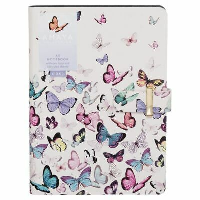 WHSmith Amaya Butterflies Chunky A5 Ruled Notebook Journal 300 Pages Case Bound