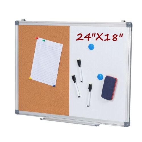 24 x 18 Inch Dry Erase & Cork Bulletin Board Set, 1/2 Corkboard & Whiteboard