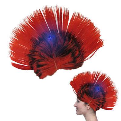 Dazzling Toys Blinking LED Red Mohawk Wig Unisex Halloween Fancy Punk Costume (Blinking Toys)