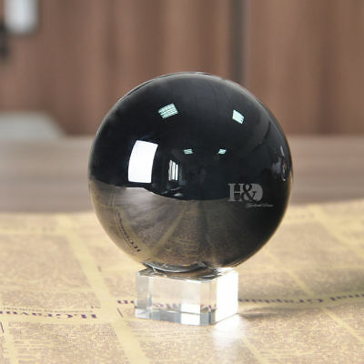 Black Magic Crystal Glass Healing Ball Sphere Paperweight Home Decor 100mm+Stand 100 Mm Black Magic
