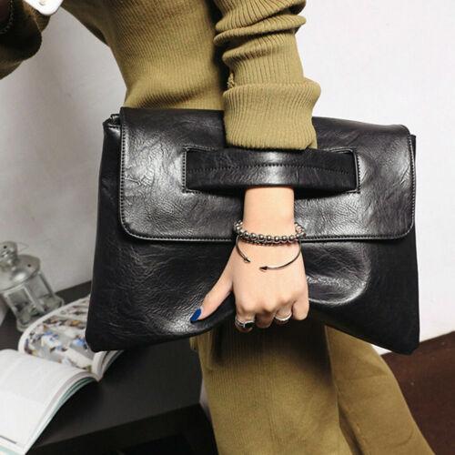 Women Ladies Large Leather Handbags Clutch Envelope Shoulder