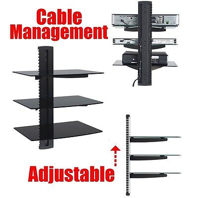 3-tier Adjustable Component Wall Mount Glass Shelf System for DVD DVR Cable Box (3 Component Wall System)