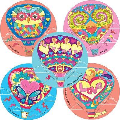 Hot Air Balloon Stickers x 5 - Hot Air Balloons Love Owl Bohemian Party Loot - Bohemian Birthday Party