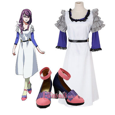 Tokyo Ghouls Kamishiro Rize white Purple dress cosplay costume with Shoes