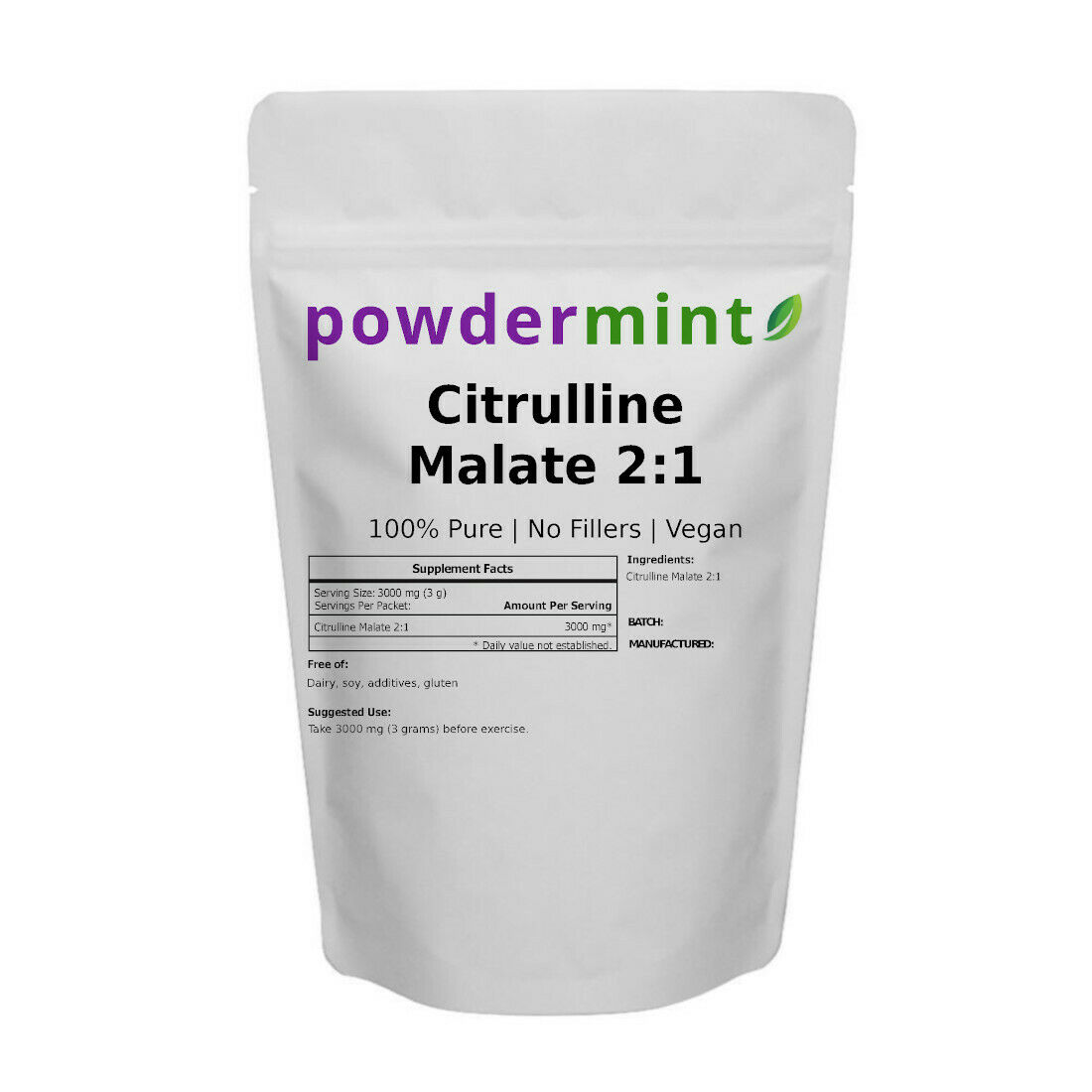 L-Citrulline DL-Malate 2:1 Powder 100% Pure Pre-Workout Musc