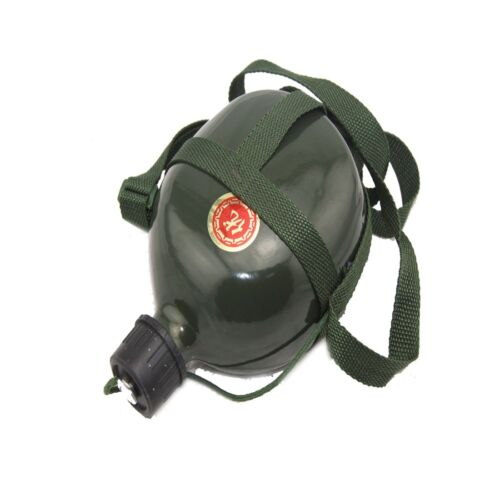 1.5L Outdoor Camping Hiking Army Green Water Bottle Vintage With Shoulder Strap