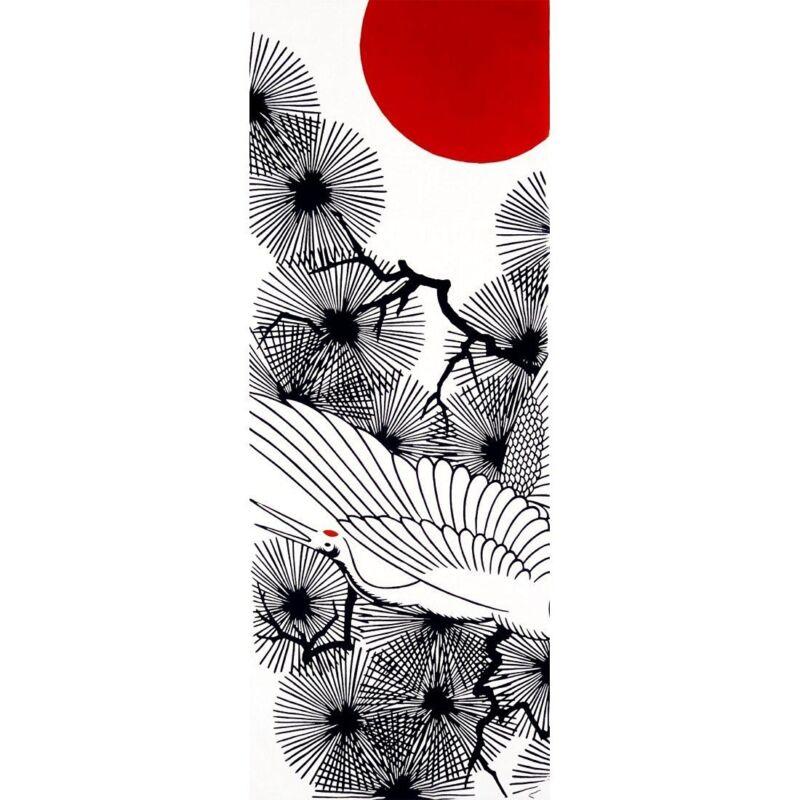 Japanese traditional towel TENUGUI COTTON BIRD CRANE TANCYO TSURU MADE IN JAPAN