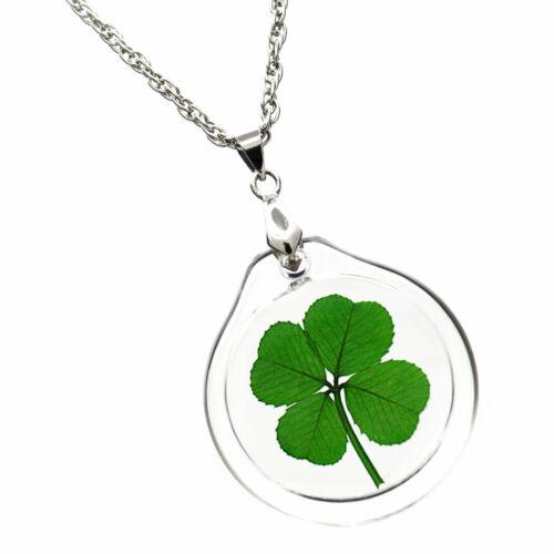 Good Luck Charm Acrylic Necklace with a Real Four Leaf Clover AN-4J