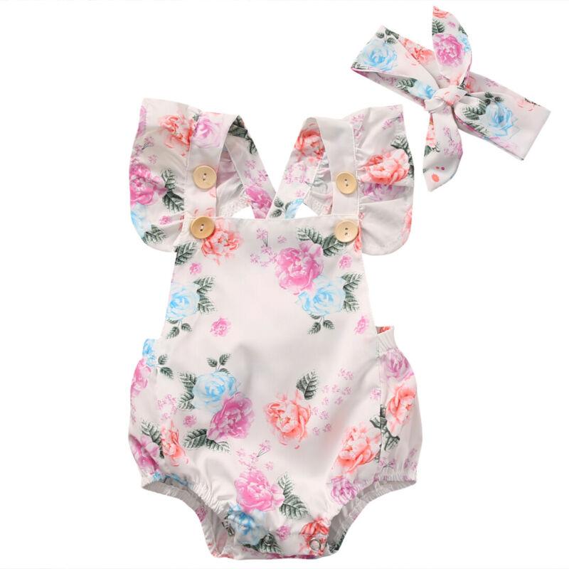 Newborn Baby Girl Clothes Flower Jumpsuit Romper Bodysuit + Headband Outfits US