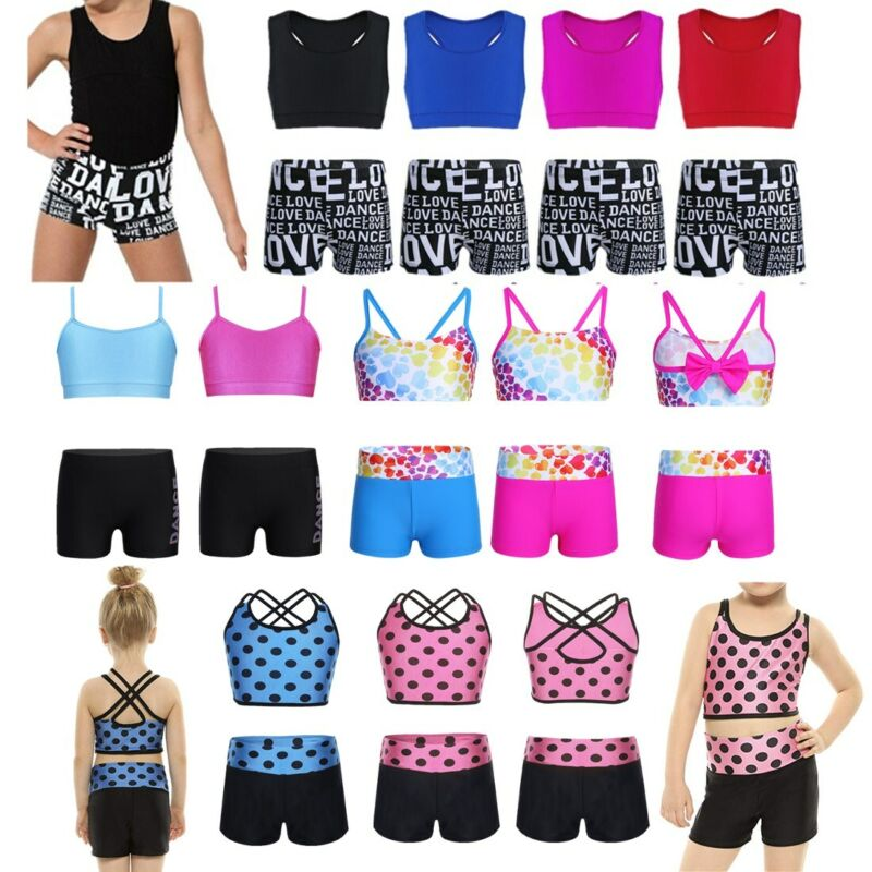 YiZYiF Kids Girls 2-Piece Gymnastics Dance Outfits Strappy Hollow Out Crop Tops and Booty Short Athletic Clothes Set