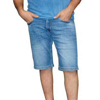 ✅Hero Herren Denim Bermuda Stretch Jeans Hose Outdoorjeans 2018 - Blue Used Wash Wash Denim Hose