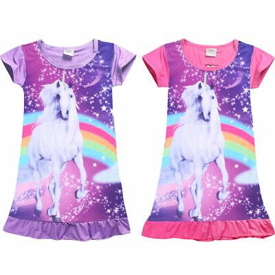 Girls Kids Unicorn Cartoon Pajamas Nightgown Dress Sleepwear Nightwear Costumes