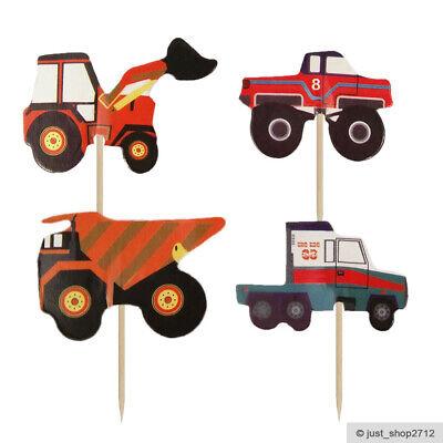 24 Laster Bagger LKW Topper Toppers Kuchen Picks Dekoration Kinder Geburtstag (Kinder Geburtstag Kuchen Topper)