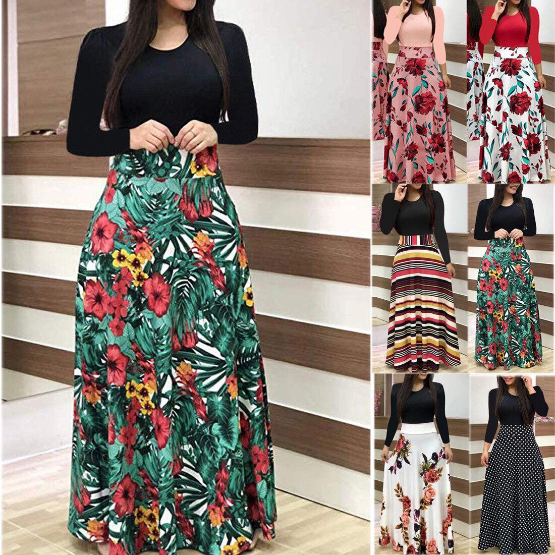 Plus Size Ladies Long Sleeve Floral Boho Women Party Bodycon