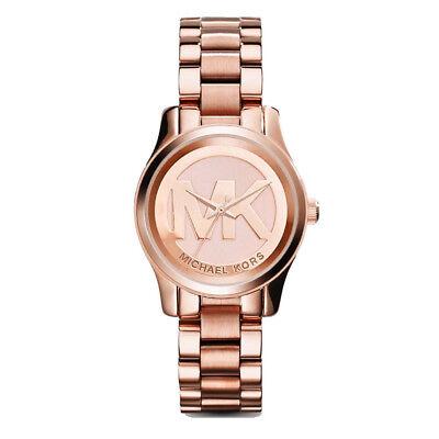 New Michael Kors Women 33mm Rose Gold Logo Runway Mini Bracelet Watch MK3334