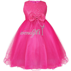 Flower Girl Princess Pageant Wedding Party Formal Sequin Bow Kid Dress Size 2-12