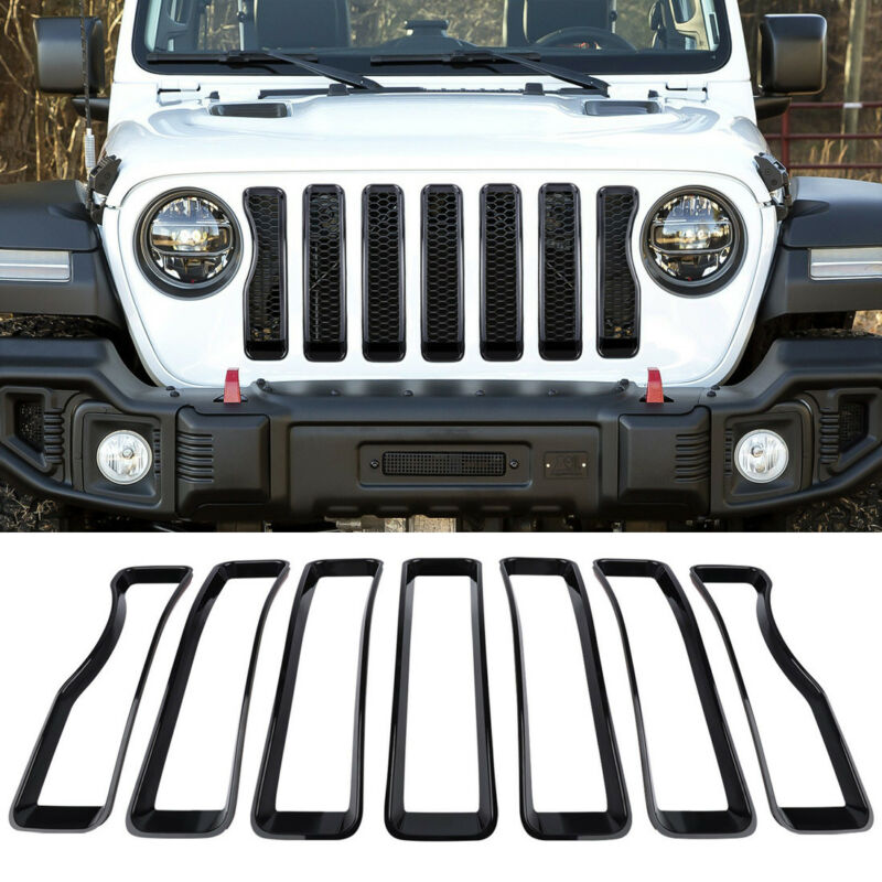 Exterior Front Grille Grill Insert Cover Accessories Trim For Jeep Wrangler JL y