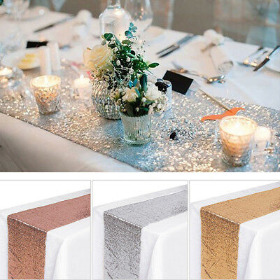Sequin Table Runner, Rose Gold Silver Champagne Tablecloth Wedding Party Decor