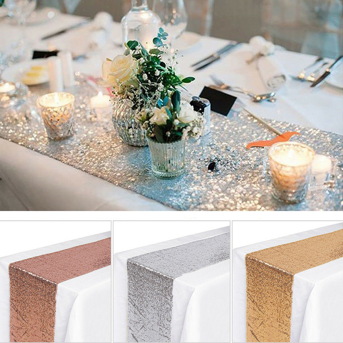 Sequin Table Runner, Rose Gold Silver Champagne Tablecloth W
