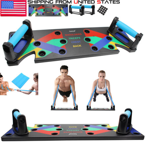 Push Up Rack Board Stands System Fitness Workout Train Gym Exercise 9 in 1