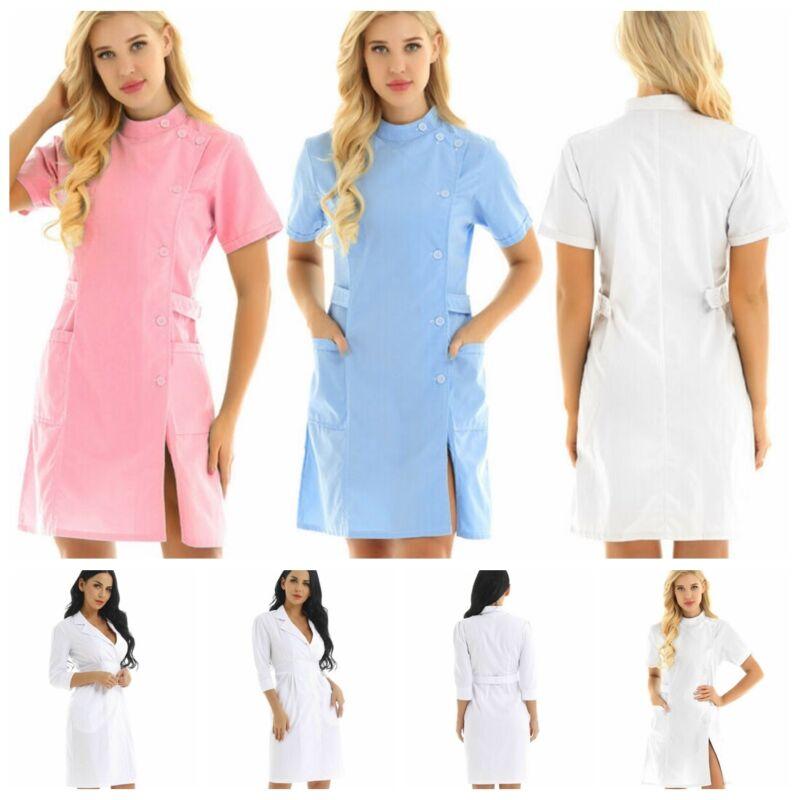 Womens Lab Coats Medical Uniform Dress Hospital Nurse Doctor Scrub Work Clothes