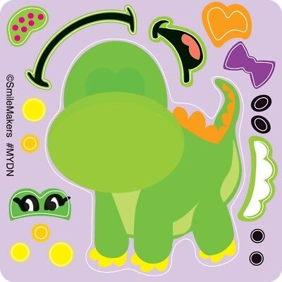 20 Make Your Own Dinosaur STICKERS Party Favors Birthday Supplies Loot - Dinosaurs Birthday