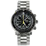 Seiko Men's SNA411 Flight Alarm Chronograph Black Dial Stainless Steel Watch