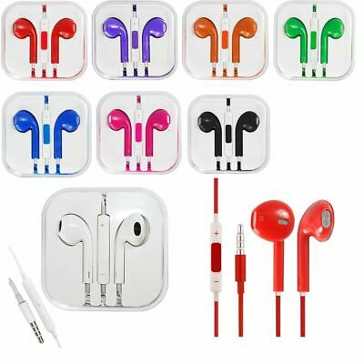 Colour Earphones Headphones EarPods With Mic Volume Remote For HTC Sony Samsung