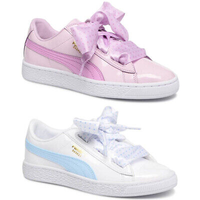 PUMA Basket Heart Stars Bow Infants Trainers Ribbon Pink White Blue Girls Shoes