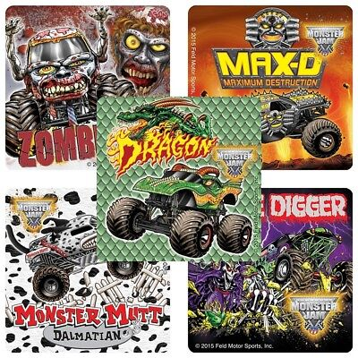 25 Monster Jam Trucks Fan Favorites Grave Digger Stickers Party Favors Mutt  - Monster Truck Party Supplies