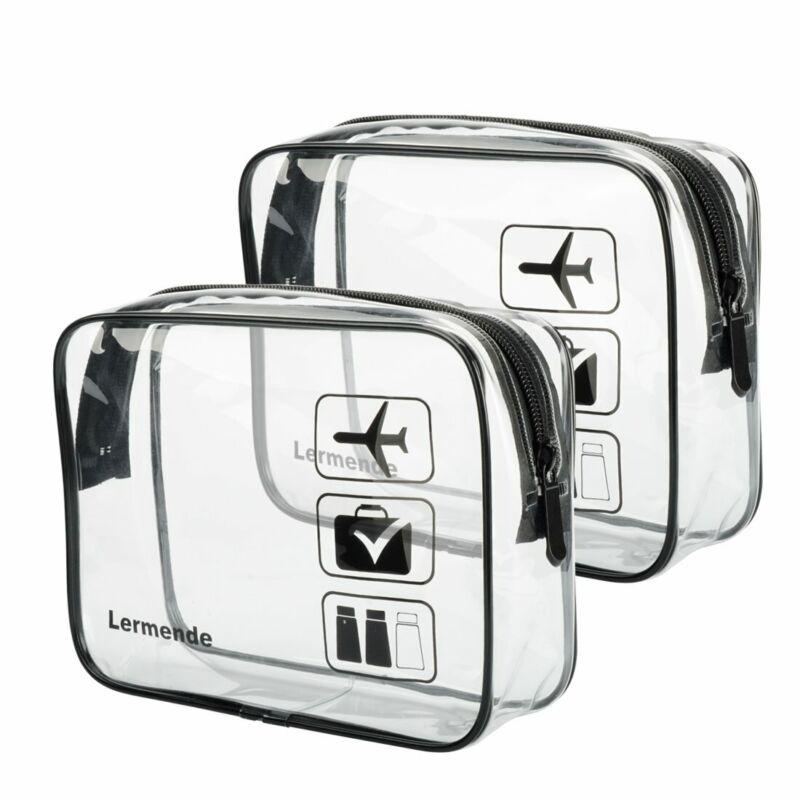 2pcs/pack Lermende Clear Toiletry Bag TSA Approved Travel Ca