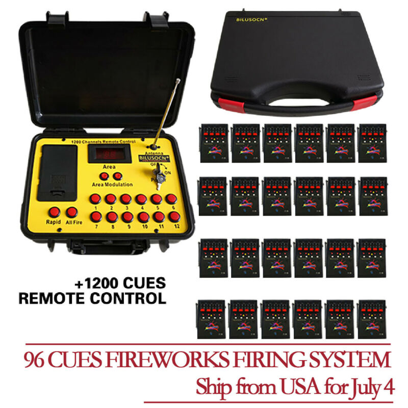 96 Cues fireworks firing system 300M distance remote control Free ship