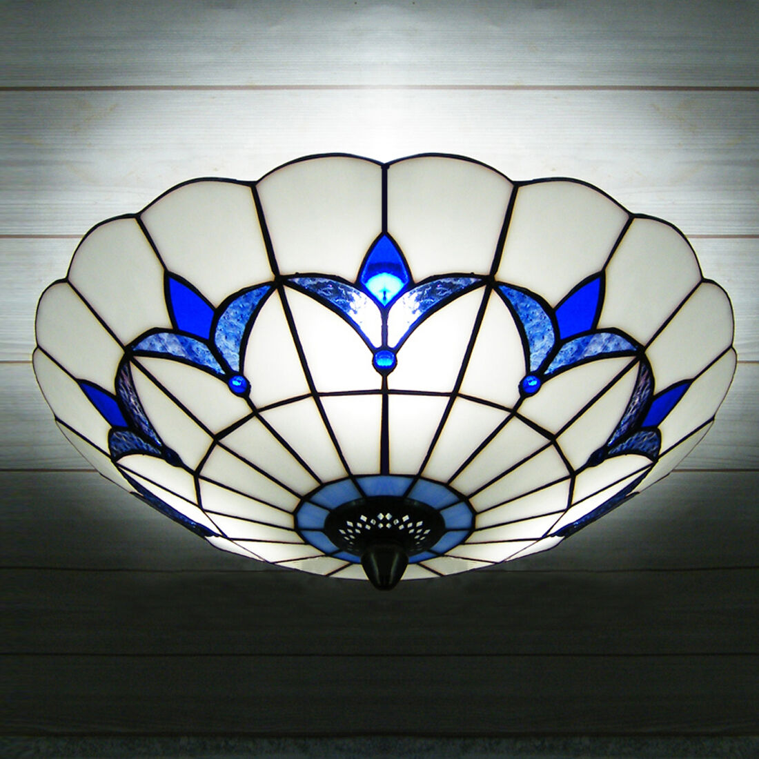 Three Lights Blue Flowers Motif Glass Shade Flush Mount Ceiling Light