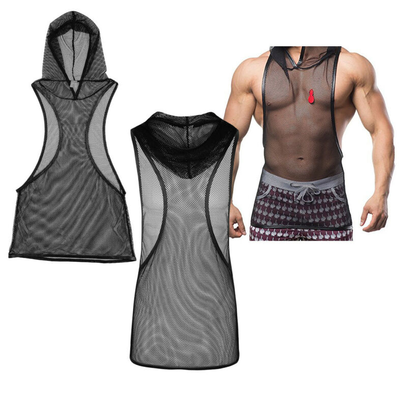 6e31ecb3a9db Details about Men's Gym Transparent Stringer Hoodie Tank Tops Muscle hooded Shirt  Bodybuilding