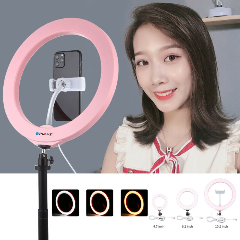 LED Ring Light USB 3 Modes Dimmable Photo Studio Selfie Phone Video Live Lamp