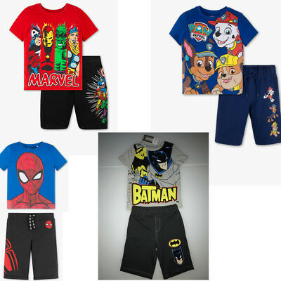 Jungen Outfit Set 2-teilig Batman Spiderman Paw Patrol Avengers Kinder (Batman Kinder Outfit)