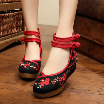 2019 Women Chinese Embroidered Flower Flat Shoes Mary Jane Lady Cotton Floral ()