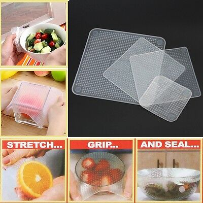 4x Silicone Wraps Seal Cover Stretch Cling ...