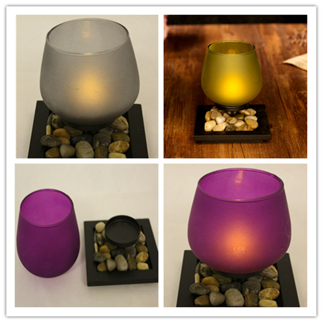 Tea Light Electric LED Candle Holder set 3 Lamp Christmas We