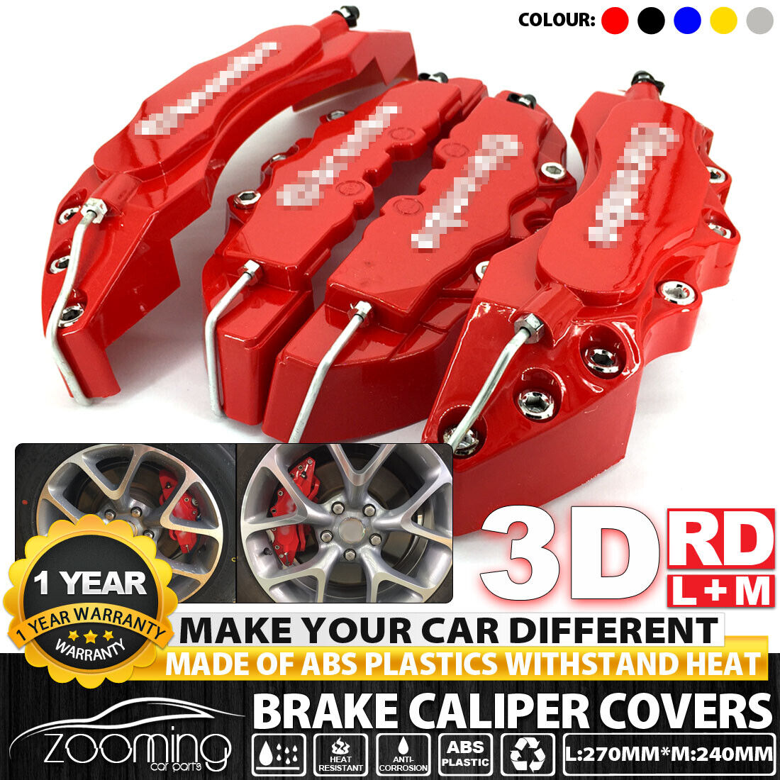6x BK Style 3D Brake Caliper Cover Disc Universal Car L+M+S Front Rear Kit LW01
