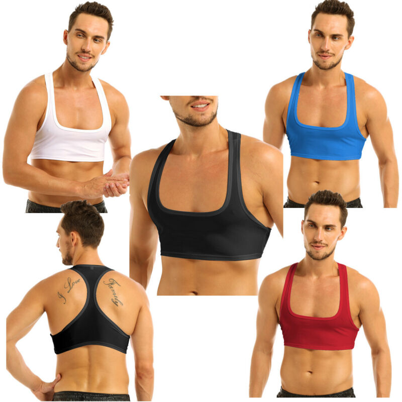 Mens Muscle Half Tank Top Leather Mesh Vest Harness Stage Dacne Costume Gym Club