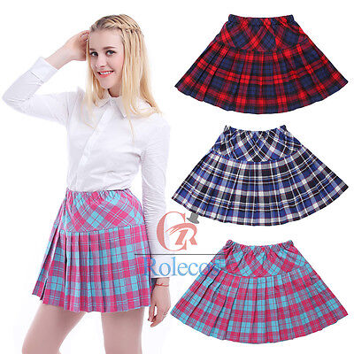 Women Girls Pleated Plaid School Uniform Mini Cheerleader Tartan - Plaid School Girl Skirt