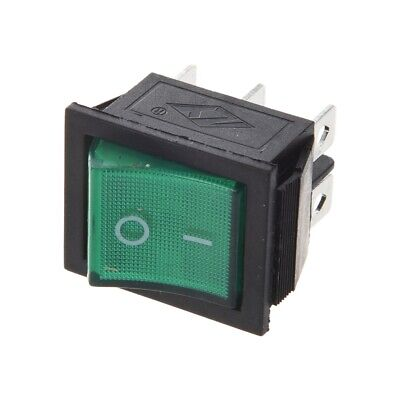 2x Square Rocker Switch Green Led 4-pin Dpst Onoff Snap-in 15a250v Ac Car 12v